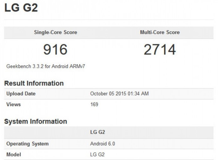 LG G2 с Android 6.0 Marshmallow Geekbench